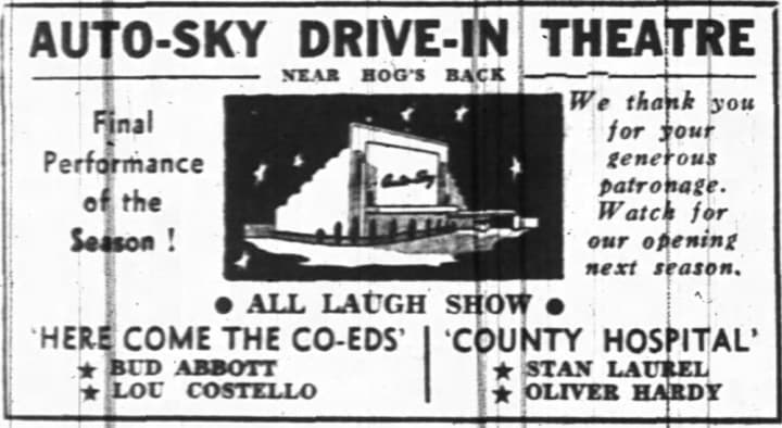 The Auto-Sky's inaugural season ended with a comedy night. That evening's temperature was an unseasonably warm 7 degrees celsius. Source: Ottawa Journal, November 13, 1948, Page 14.