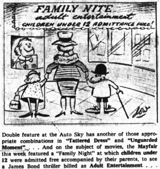 As early as 1963, the Auto-Sky was beginning to get a reputation for mixing family fare with films that are a little more …blue. Source: Ottawa Journal, October 19, 1963, Page 21.