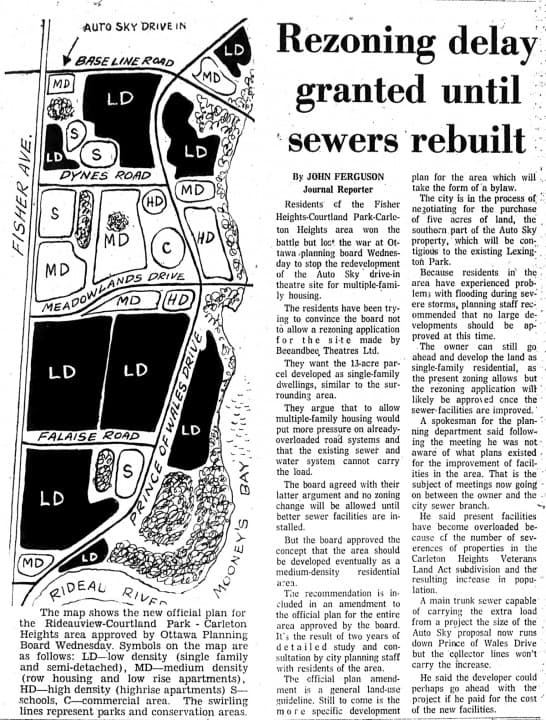 Ottawa was able to kick the ball further down the field thanks to a lack of sewer capacity. Source: Ottawa Journal, November 8, 1973, Page 3.
