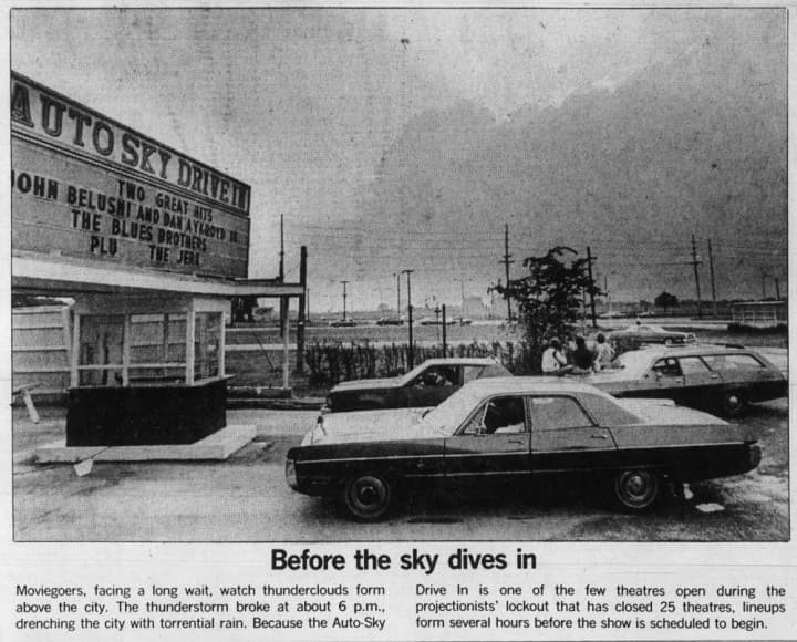 With less than a year remaining, the Auto-Sky received a last-minute stay of execution when 5/6 of Ottawa's theatres were shuttered due to the projectionists' lockout. Source: Ottawa Journal, July 30, 1980, Page 3.