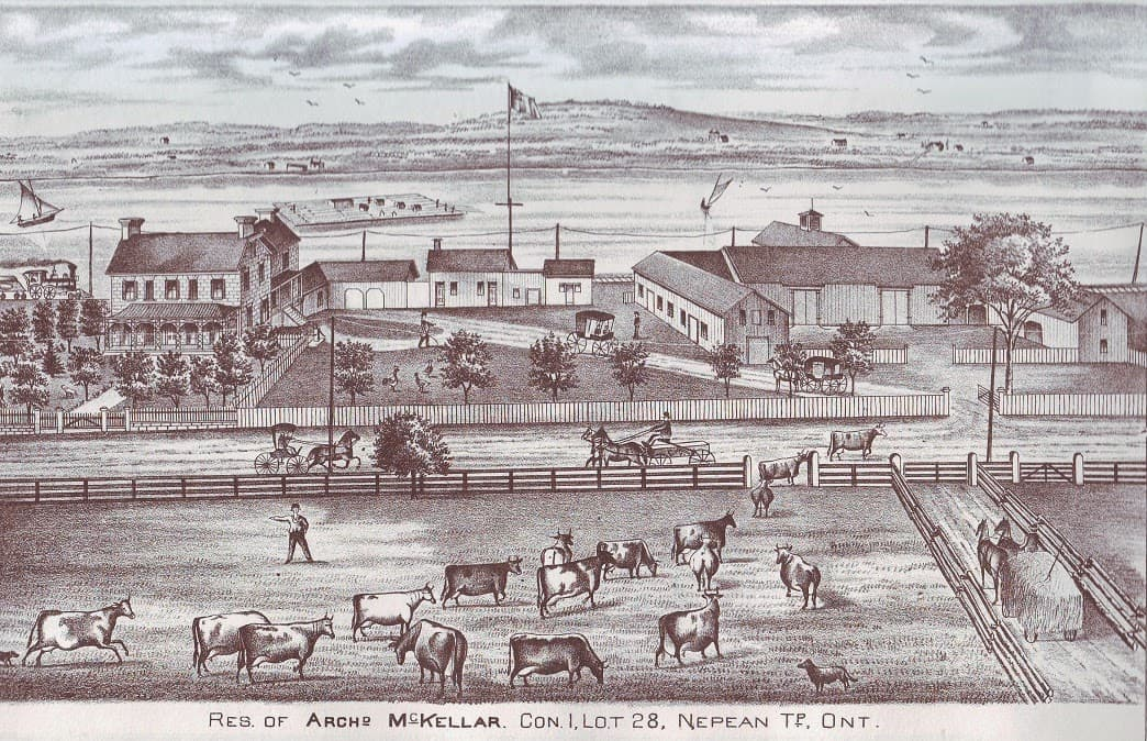 McKellar farm from the 1879 Belden Atlas. Note the stone mansion house at the top left which still stands on Richmond Road today.