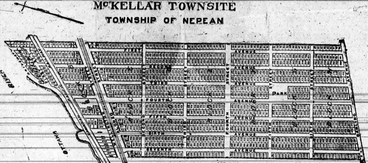 "Earliest map of the McKellar Townsite plan from January of 1911. After realizing the confusion that would likely result from duplicate naming of streets with ""Avenue"" for north-south and ""Street"" for east-west, all of the east-west running Streets would be given proper names in the final plan filed in June of 1911. The future Fraser Avenue appears here as ""First Avenue"" at the top."