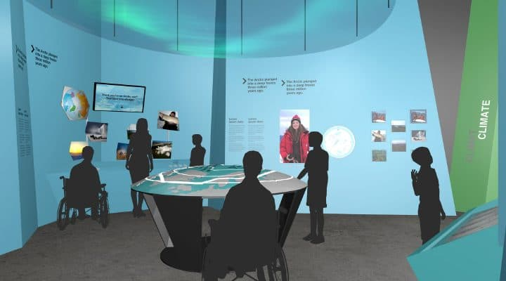 Illustration of the Geography Zone in the Canada Goose Arctic Gallery. A projection of the Aurora Borealis, and a 3D circumpolar map are two highlights in this section. GSM/Canadian Museum of Nature © Canadian Museum of Nature