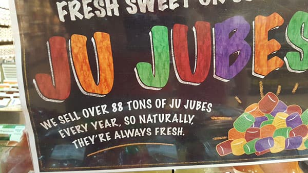 88 topnnes of ju jubes sold at Farm Boy every year.