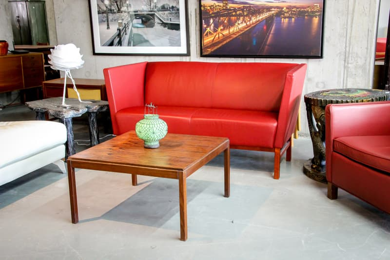 Mostly Danish Red sofa and coffee table
