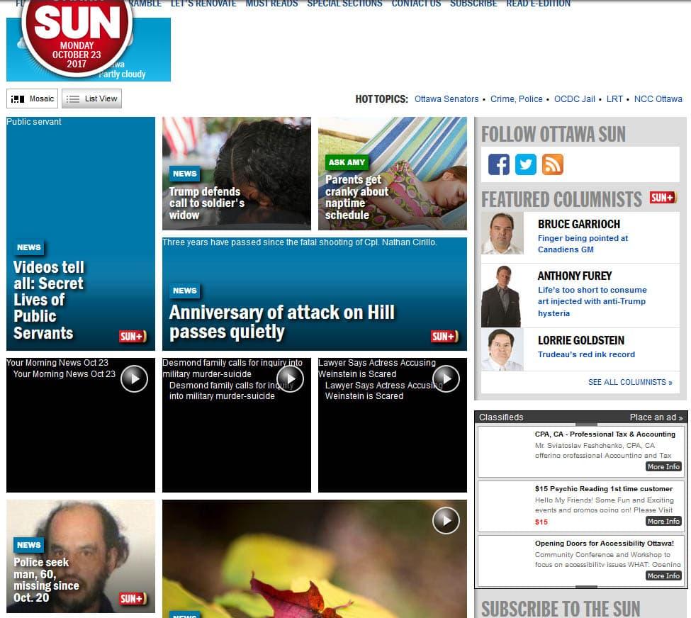 Hey look, the Ottawa Sun has a new web site (again