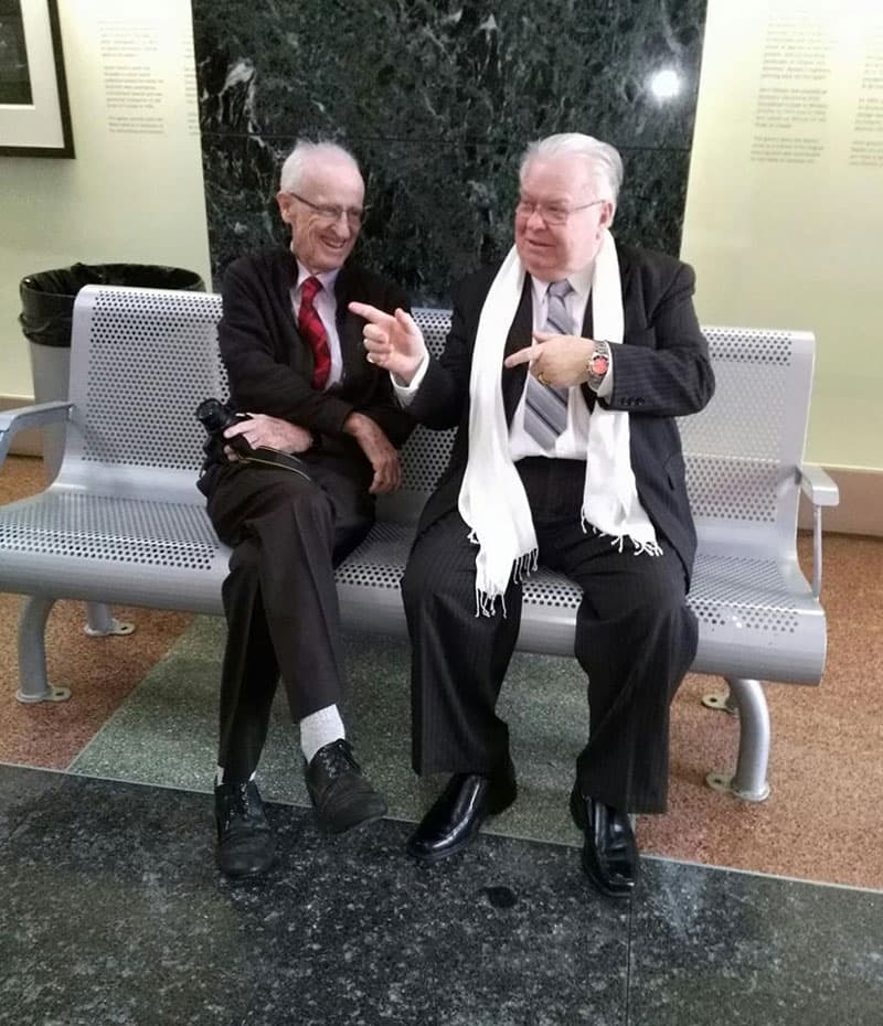 """The Two Johns"". Longtime Stittsville News reporters John Curry (left) and John Brummell at City Hall in January 2017. Brummell received a Mayor's City Builder Award after his retirement from the newspaper. Photo via Deborah Brummell / Stittsville Neighbours."