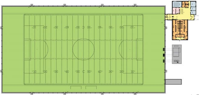 Layout of the proposed Sooners football dome and club house from Edward J. Cuhaci and Associates Architects Inc.