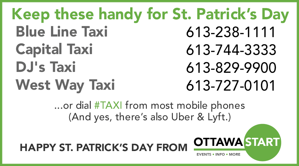 Taxi numbers for St. Patrick's Day