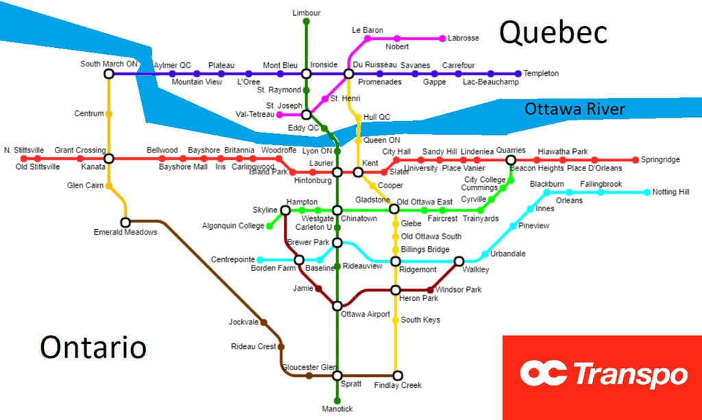 Subway Map of Ottawa/Gatineau if every Subway Restaurant in the Capital Region was a subway station